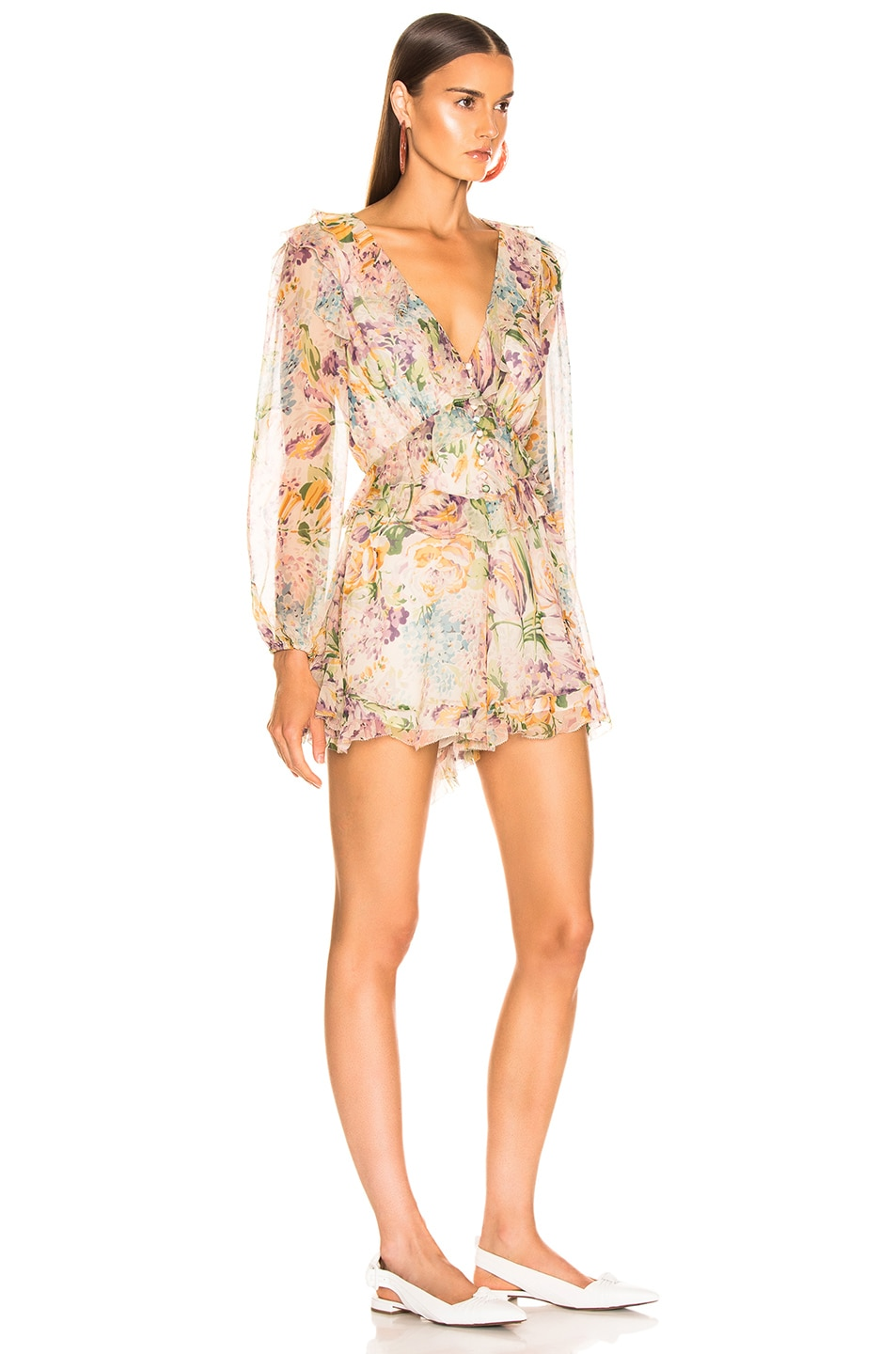 Image 2 of Zimmermann Ninety Six Flutter Playsuit in Tulip Floral