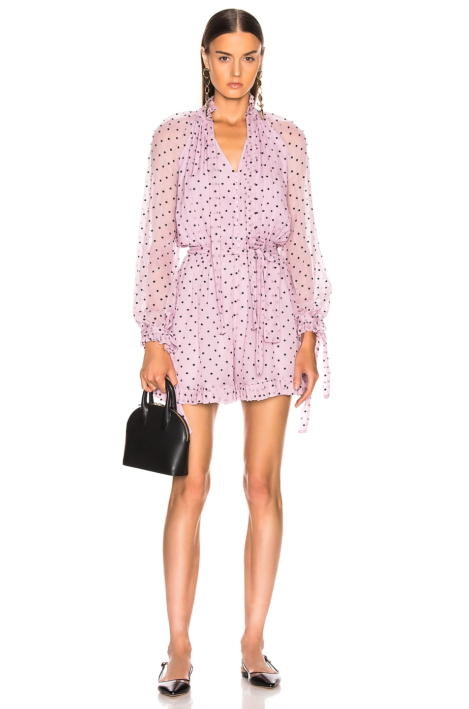 Image 1 of Zimmermann Ninety Six Neck Tie Playsuit in Lilac Dot