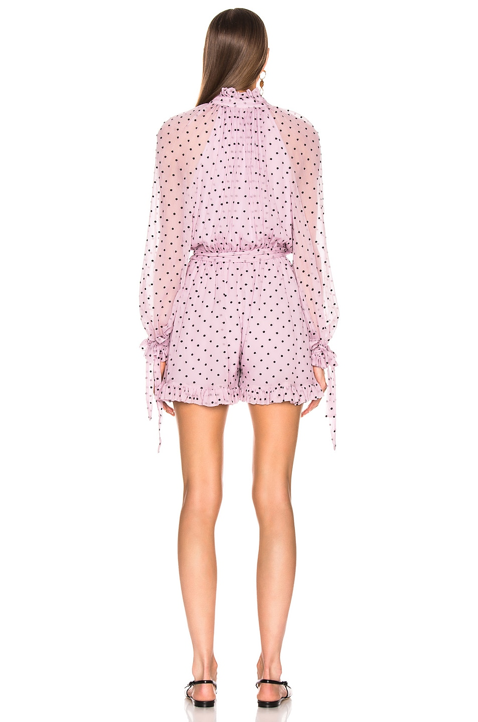 Image 3 of Zimmermann Ninety Six Neck Tie Playsuit in Lilac Dot