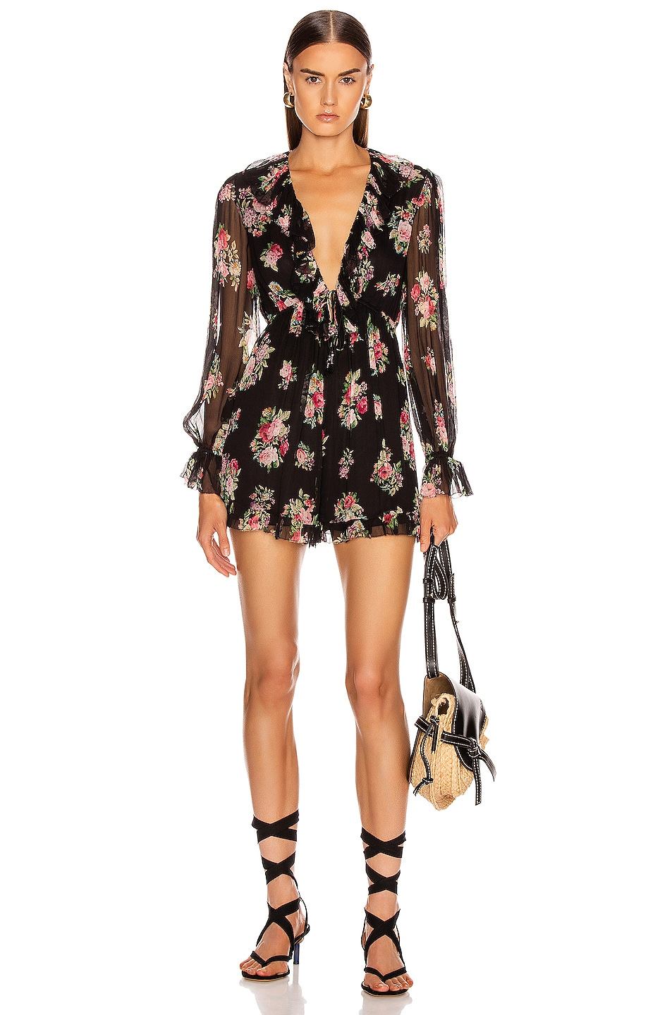 Image 1 of Zimmermann Honour Floating Playsuit in Black Floral
