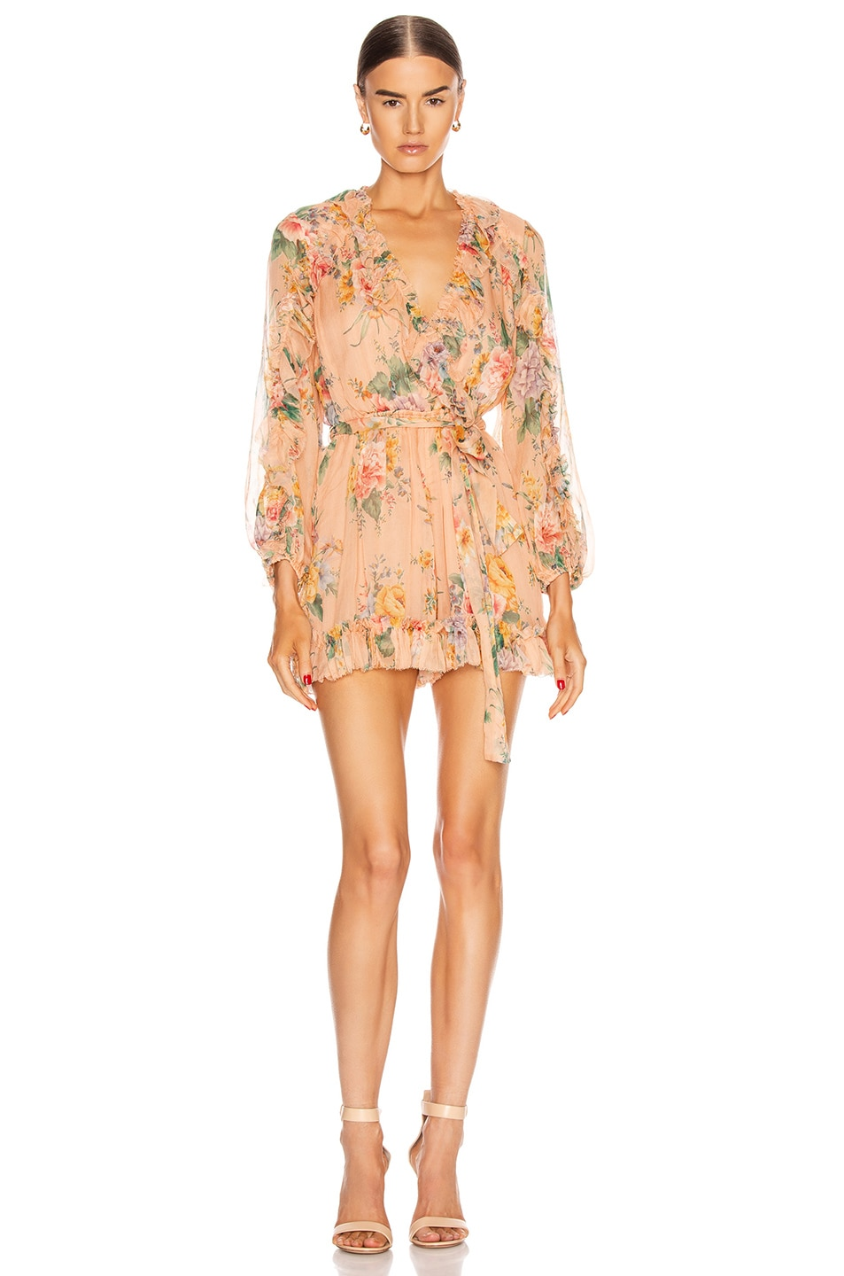 Image 1 of Zimmermann Zinnia Plunge Ruffle Playsuit in Coral Floral