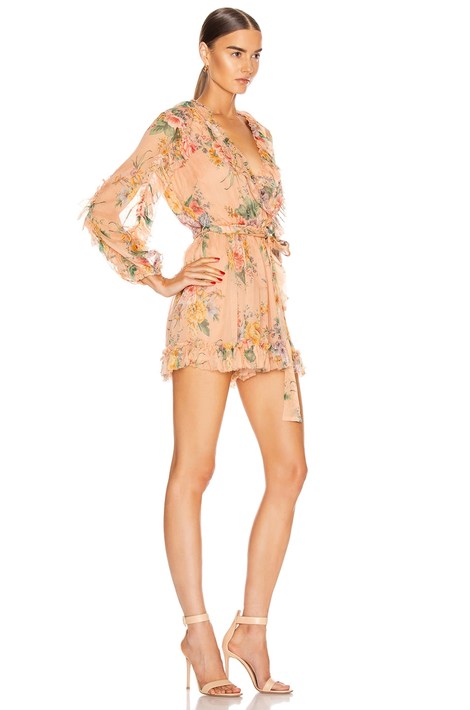 Image 2 of Zimmermann Zinnia Plunge Ruffle Playsuit in Coral Floral