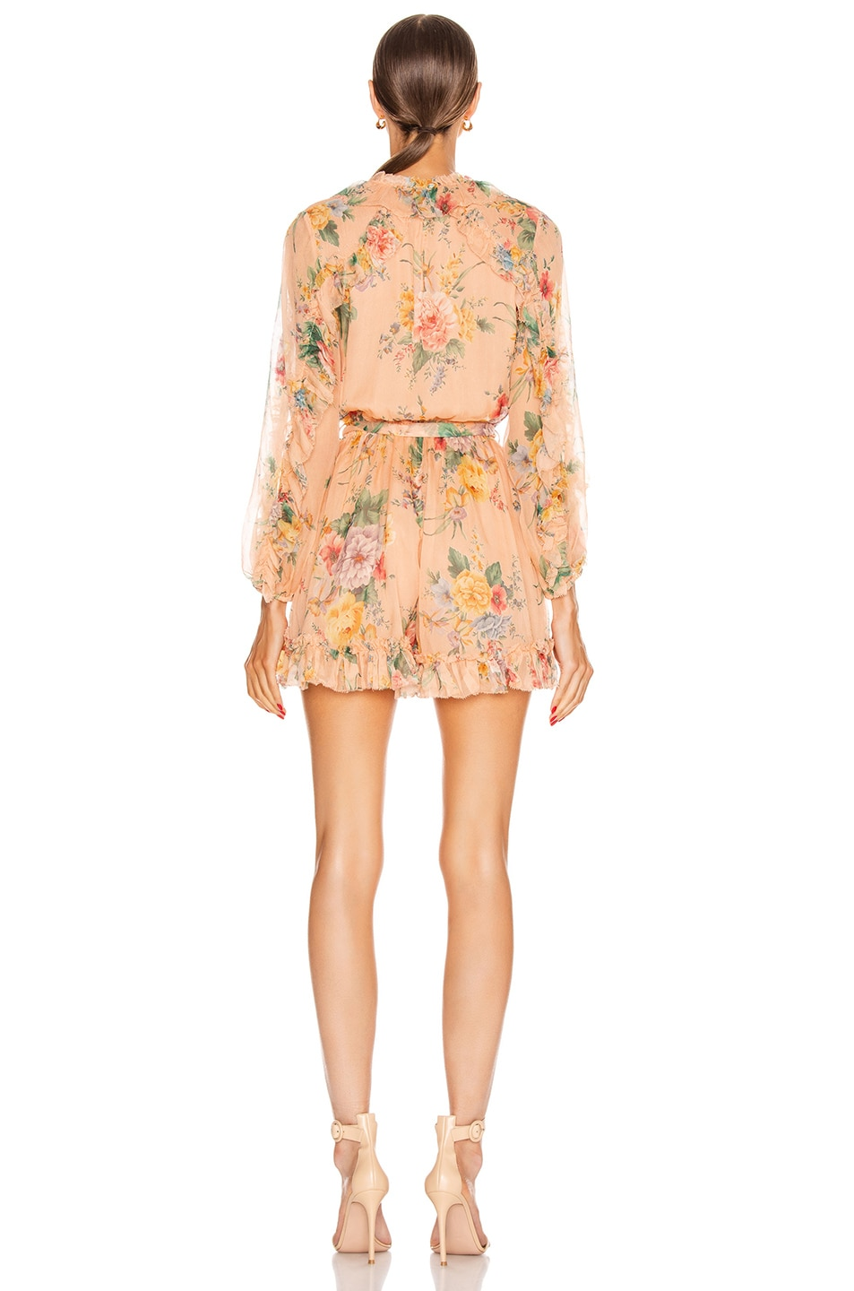 Image 3 of Zimmermann Zinnia Plunge Ruffle Playsuit in Coral Floral