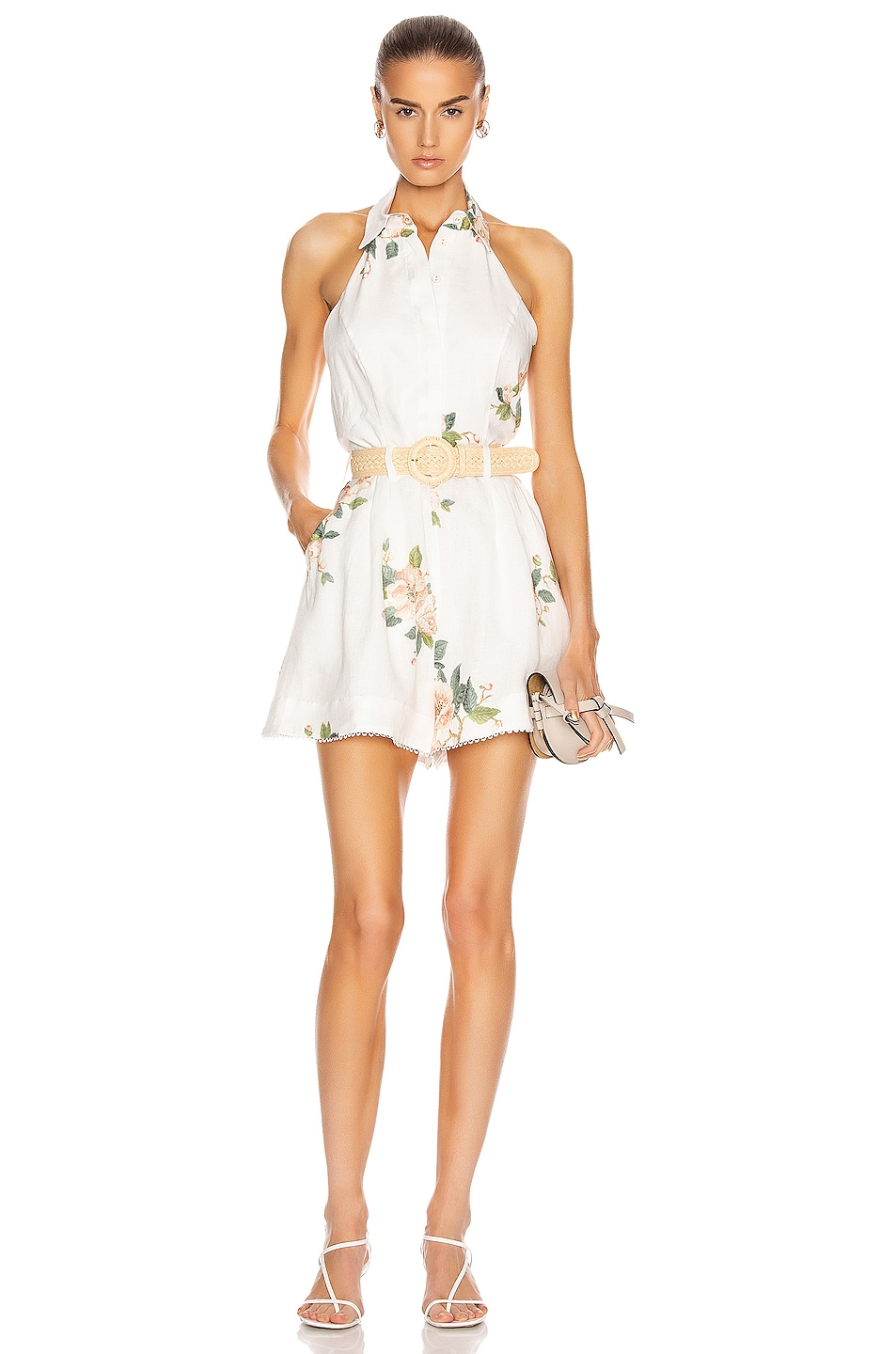 Image 1 of Zimmermann Kirra Halterneck Playsuit in Ivory Magnolia