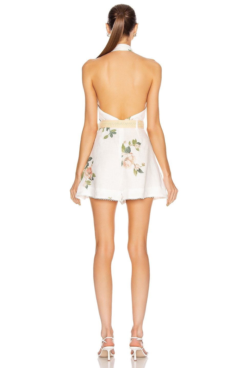 Image 3 of Zimmermann Kirra Halterneck Playsuit in Ivory Magnolia