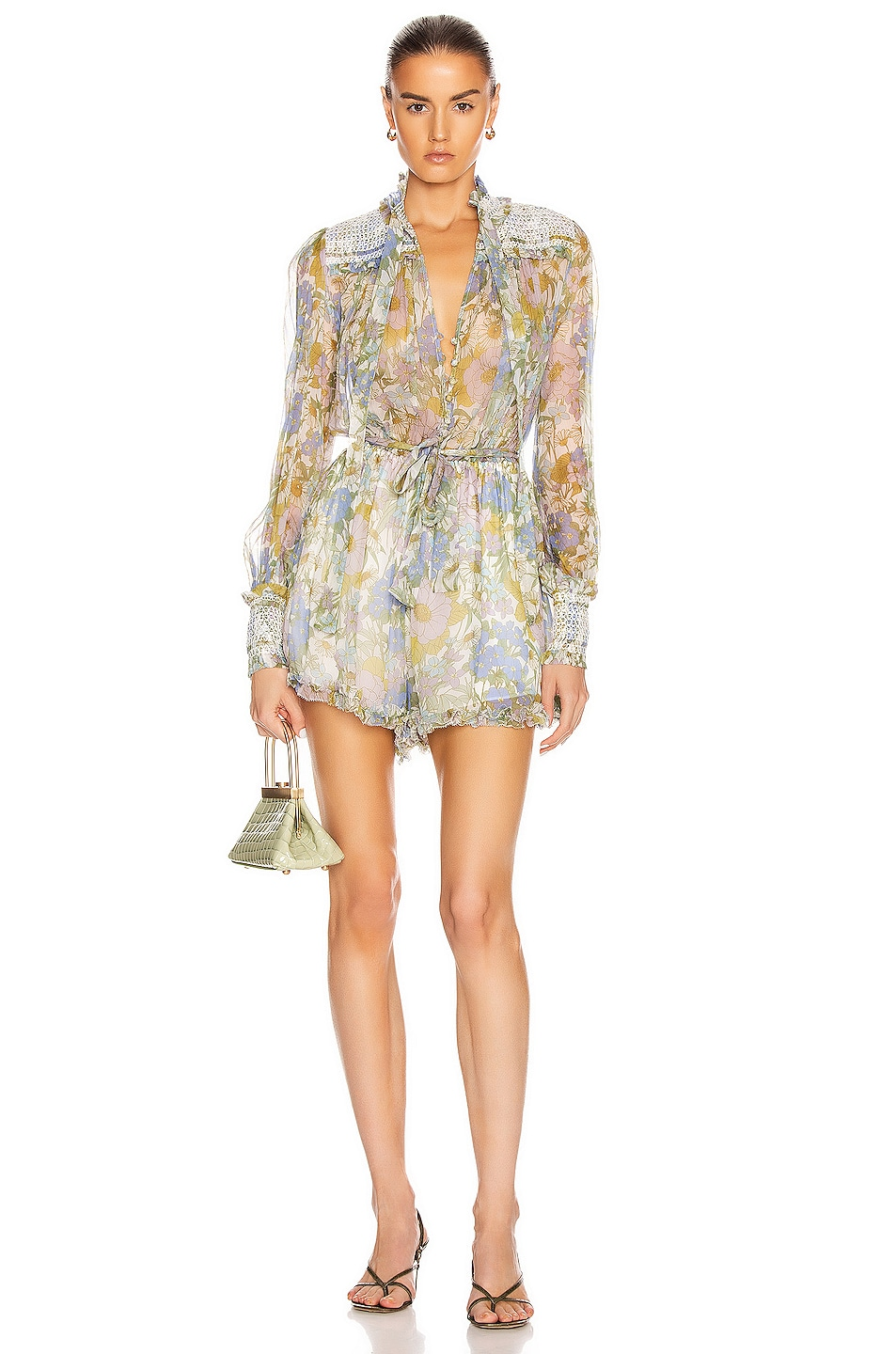 Image 1 of Zimmermann Super Eight Playsuit in Blue Meadow