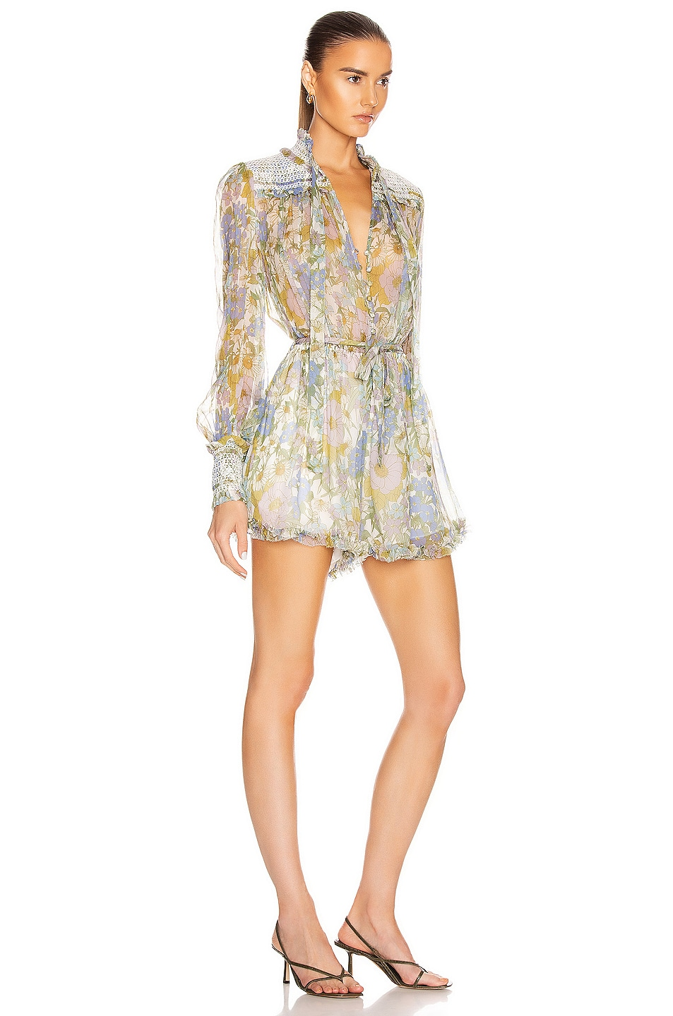 Image 2 of Zimmermann Super Eight Playsuit in Blue Meadow