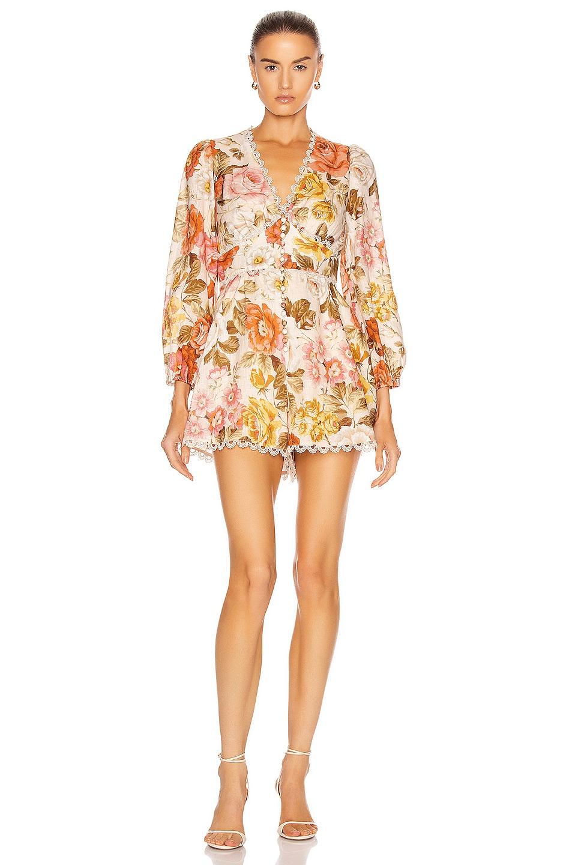 Image 1 of Zimmermann Bonita Button Through Playsuit in Cream Floral