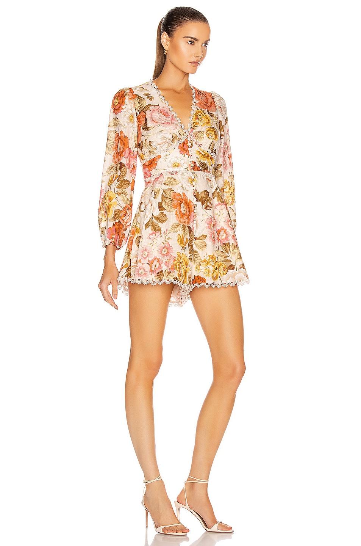 Image 2 of Zimmermann Bonita Button Through Playsuit in Cream Floral