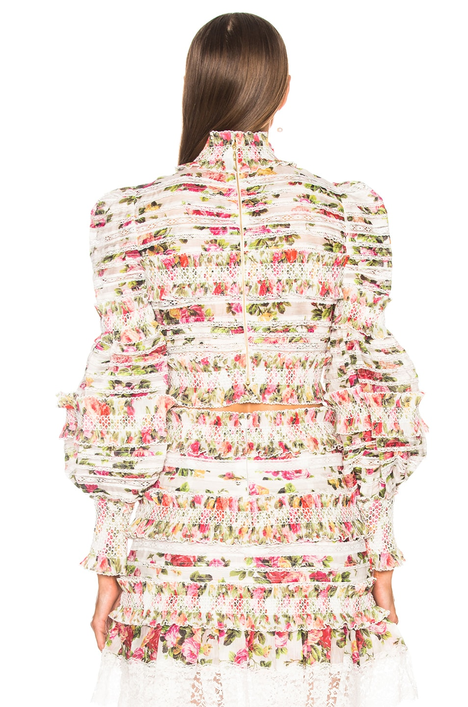b32548afc450 Image 3 of Zimmermann Sunny Smocked Bodice Top in Watermelon Bouquet Floral