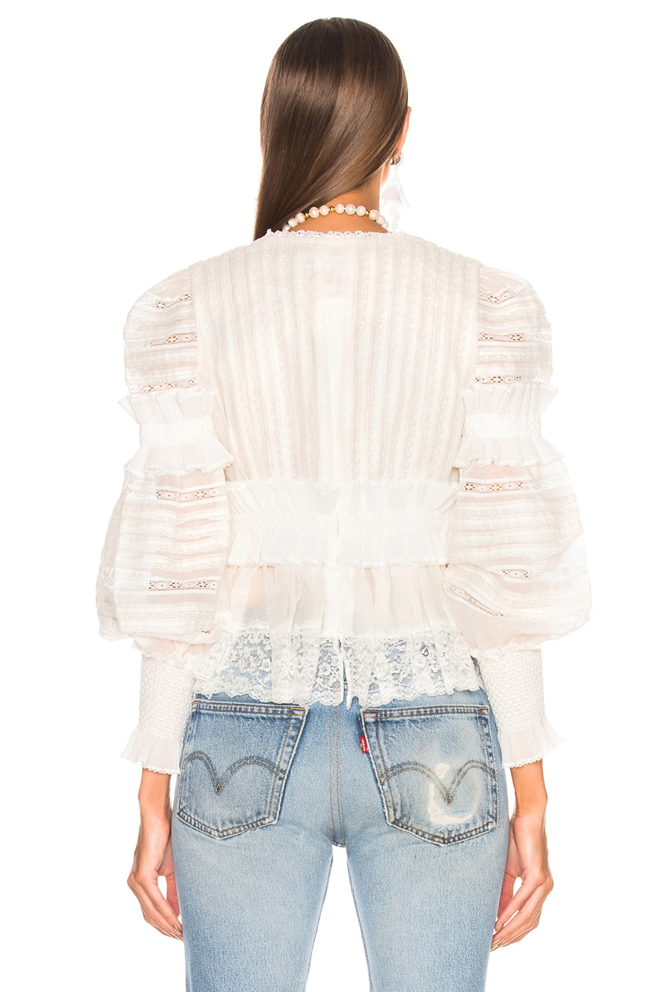 ab8814cee13b Image 3 of Zimmermann Sunny Smocked Peplum Top in White