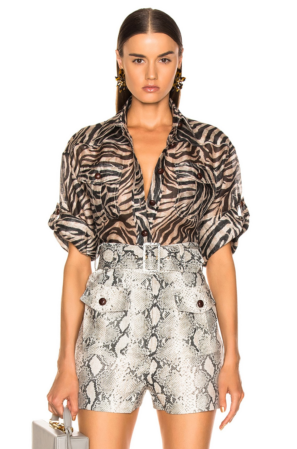 Image 1 of Zimmermann Corsage Safari Shirt in Zebra