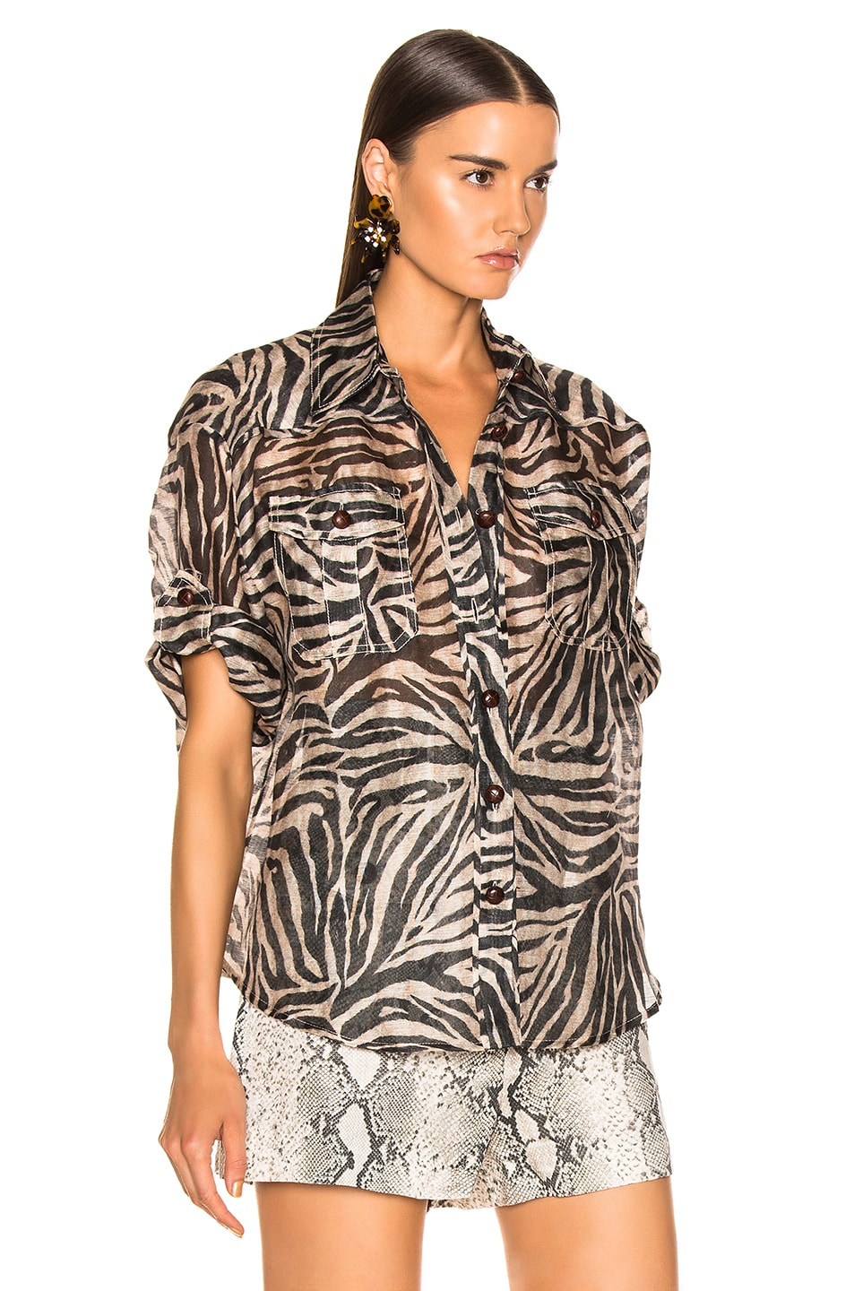 Image 2 of Zimmermann Corsage Safari Shirt in Zebra