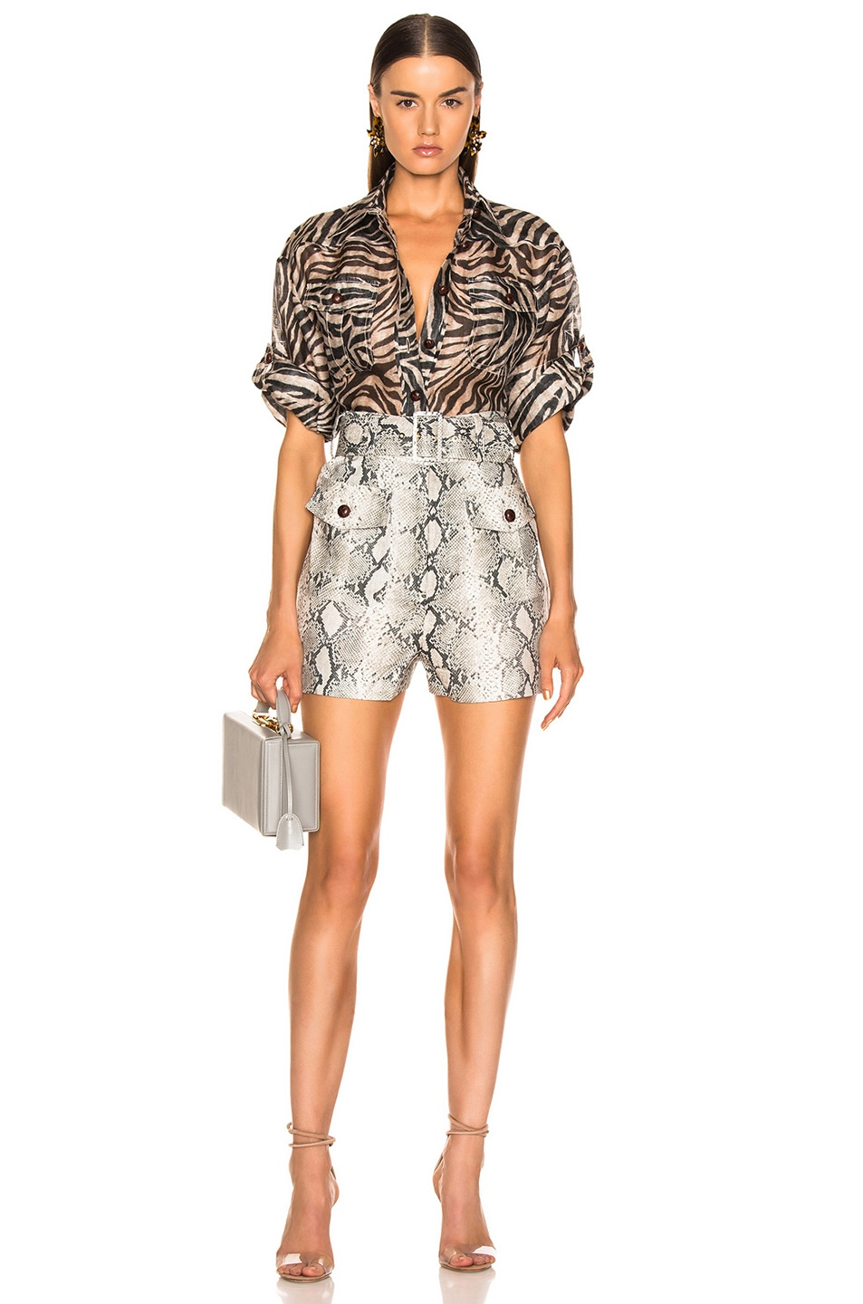 Image 4 of Zimmermann Corsage Safari Shirt in Zebra