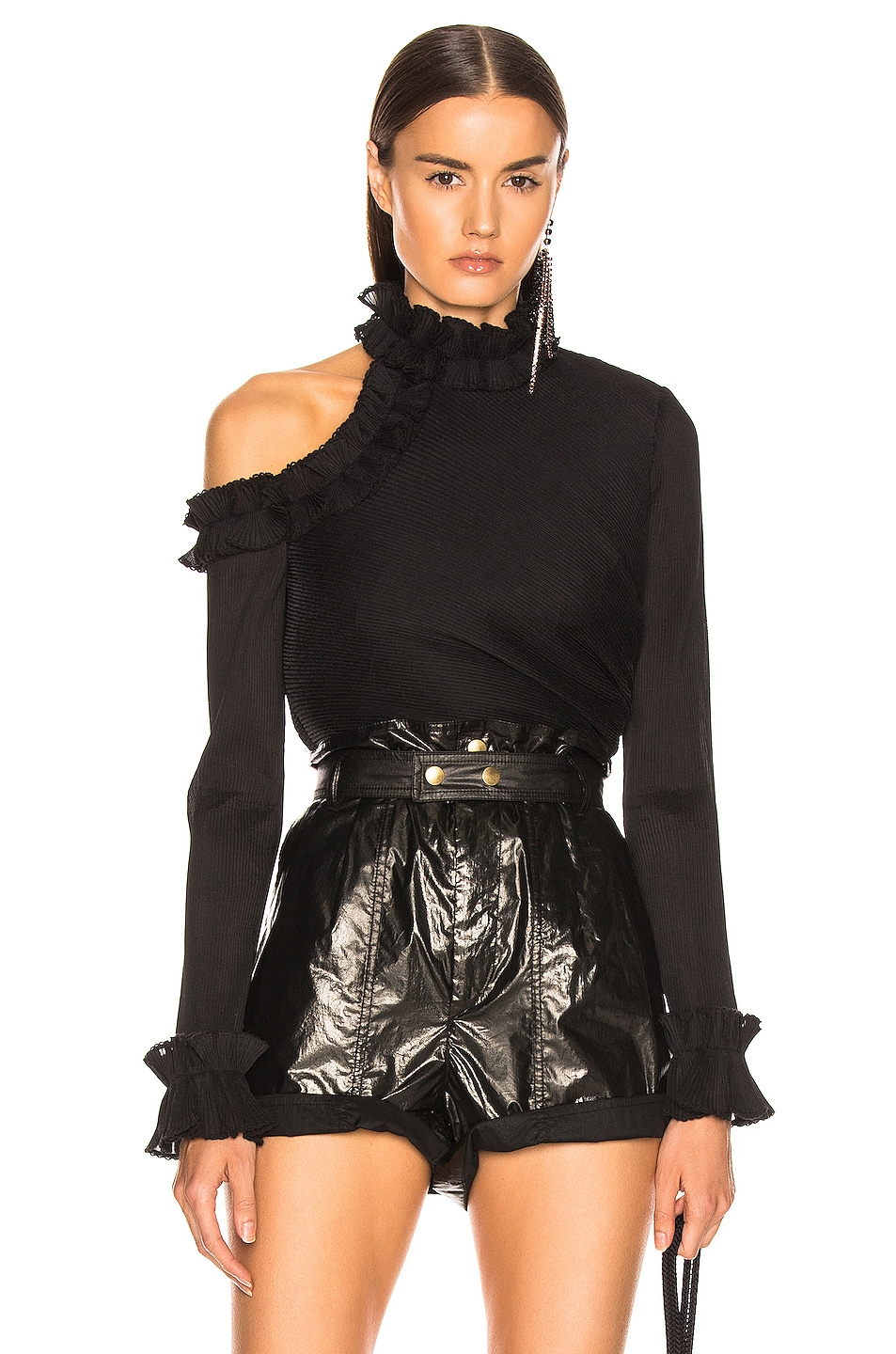 Image 1 of Zimmermann Moncur Ruffle Neck Bodice in Black
