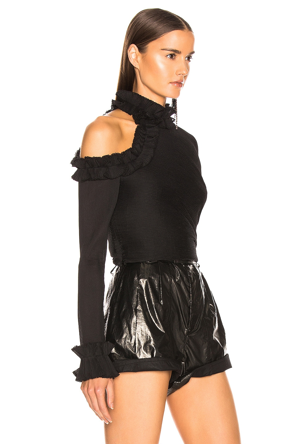 Image 2 of Zimmermann Moncur Ruffle Neck Bodice in Black