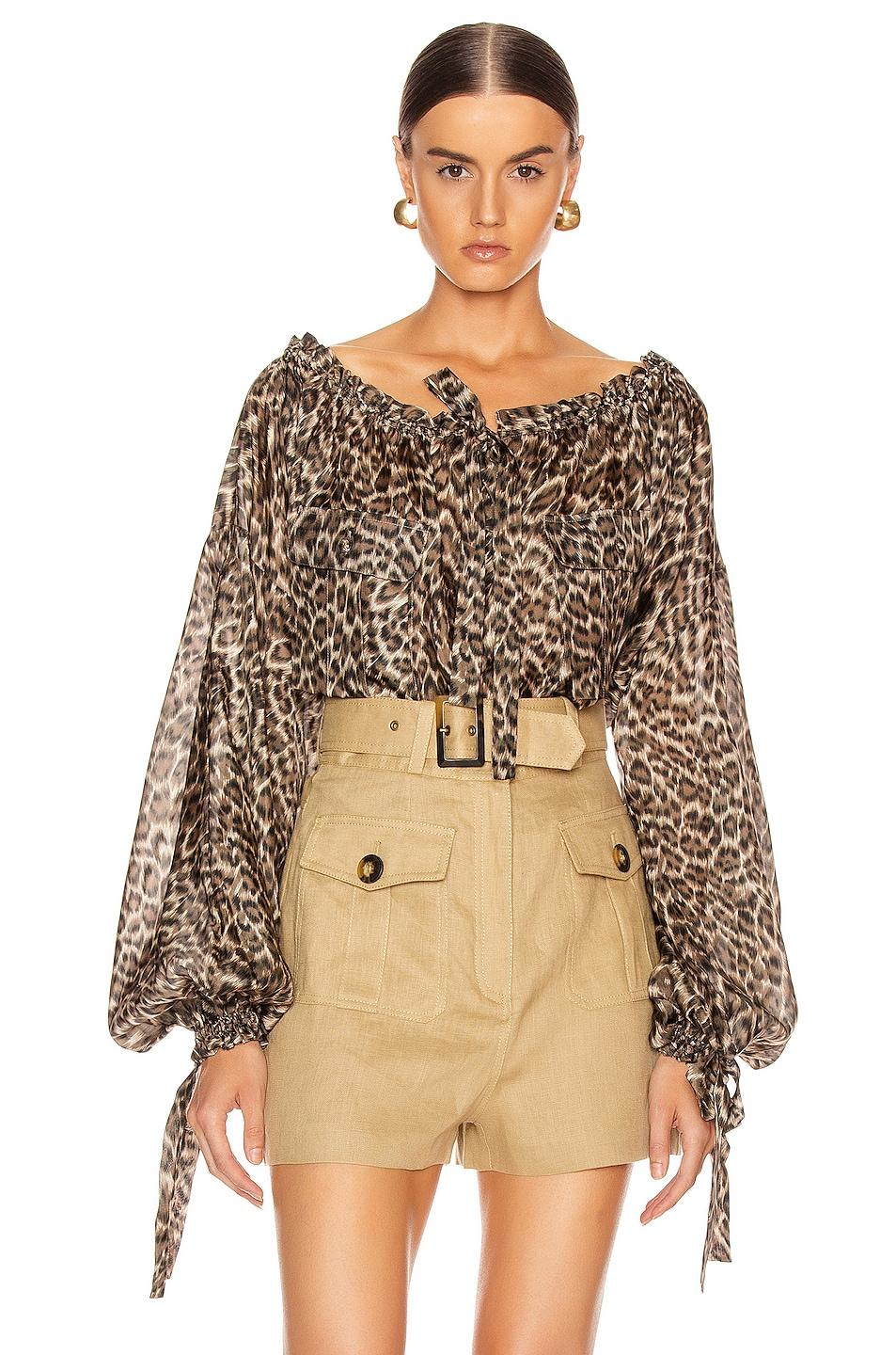 Image 1 of Zimmermann Suraya Silk Pocket Blouse in Khaki Leopard