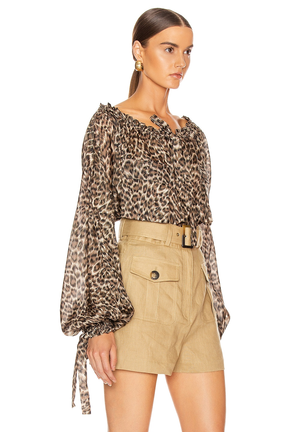 Image 2 of Zimmermann Suraya Silk Pocket Blouse in Khaki Leopard