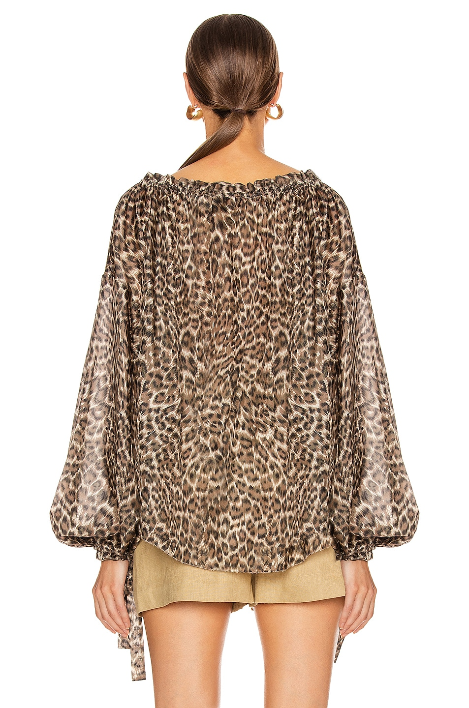 Image 3 of Zimmermann Suraya Silk Pocket Blouse in Khaki Leopard