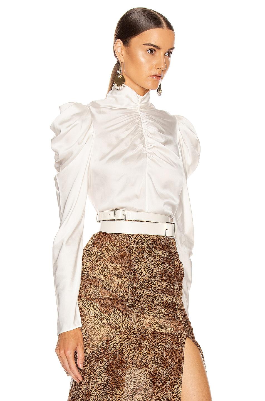 Image 2 of Zimmermann Espionage Silk Drape Top in Pearl