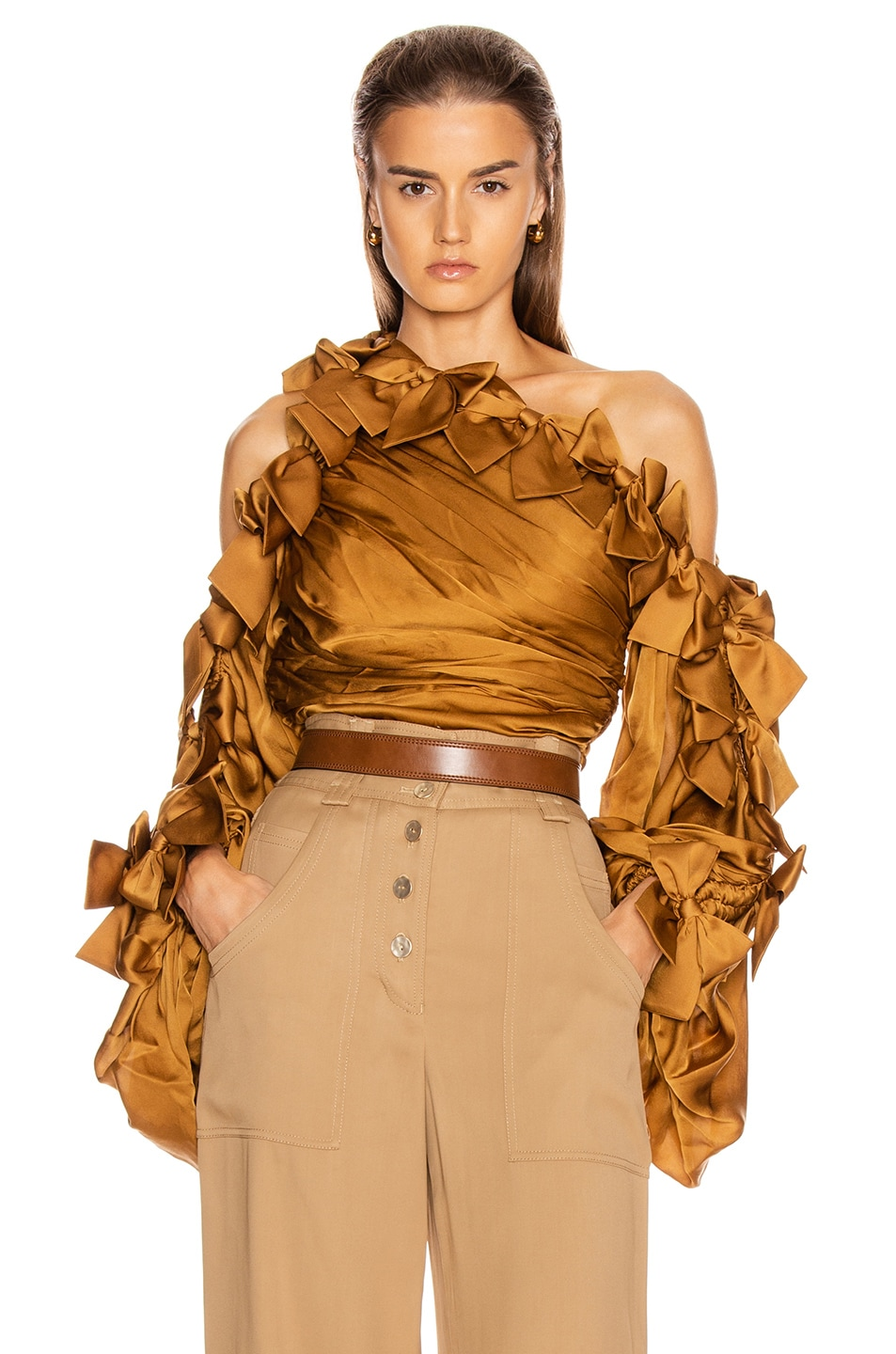 Image 1 of Zimmermann Resistance Bow Bodice Top in Butterscotch