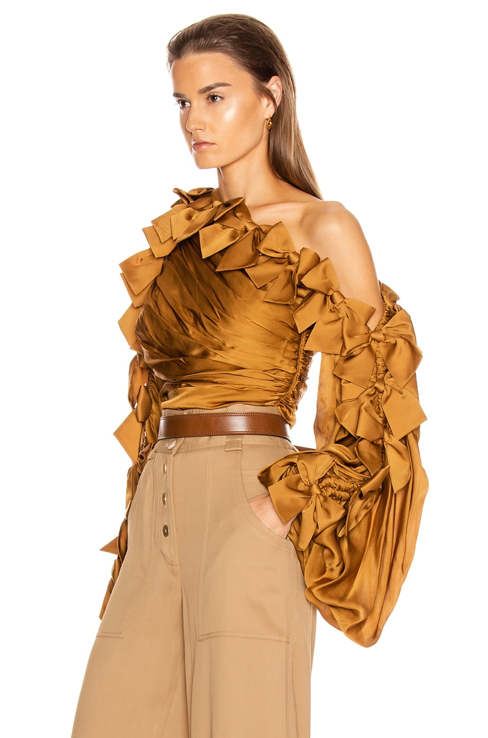 Image 3 of Zimmermann Resistance Bow Bodice Top in Butterscotch
