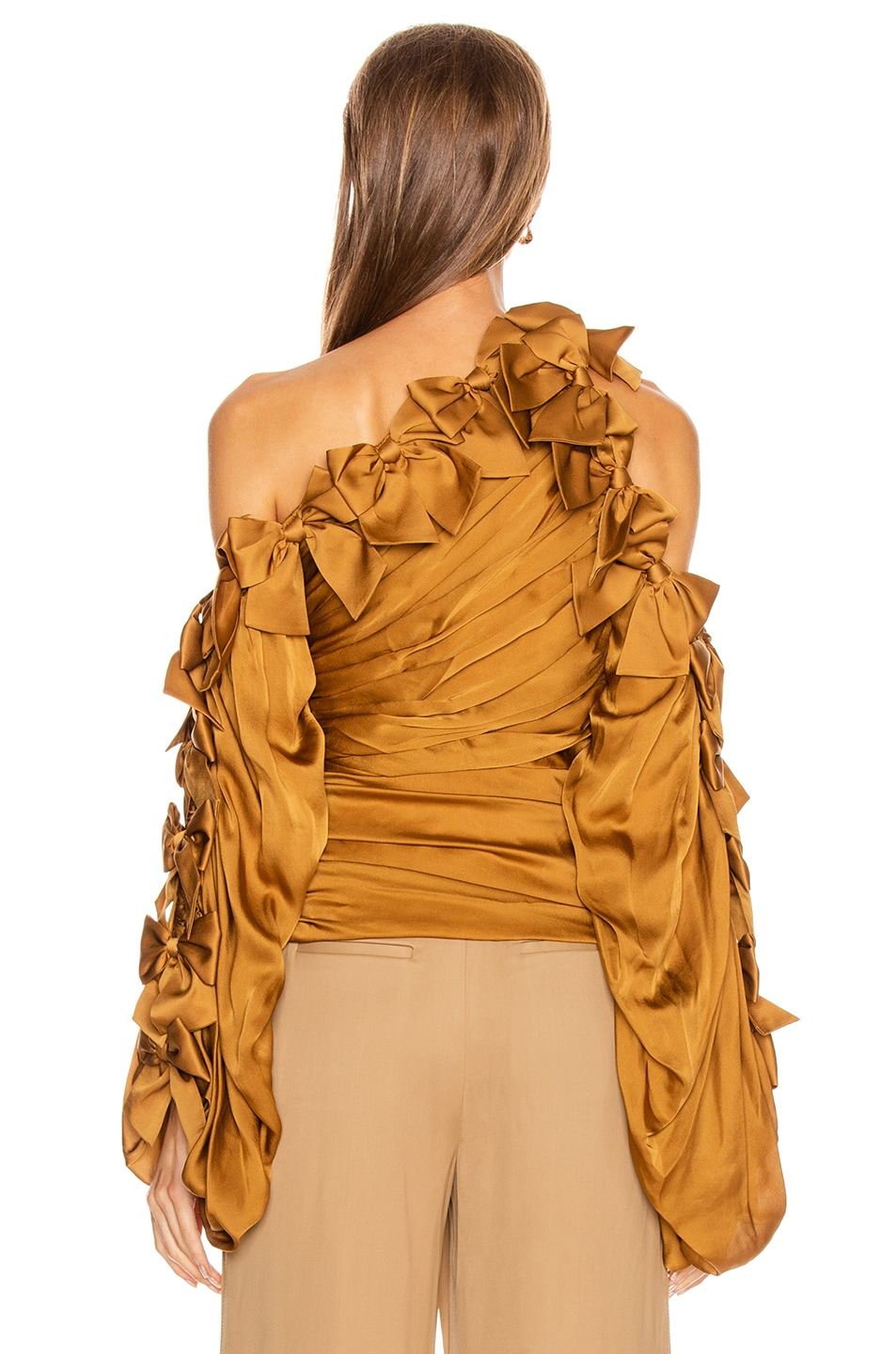 Image 4 of Zimmermann Resistance Bow Bodice Top in Butterscotch