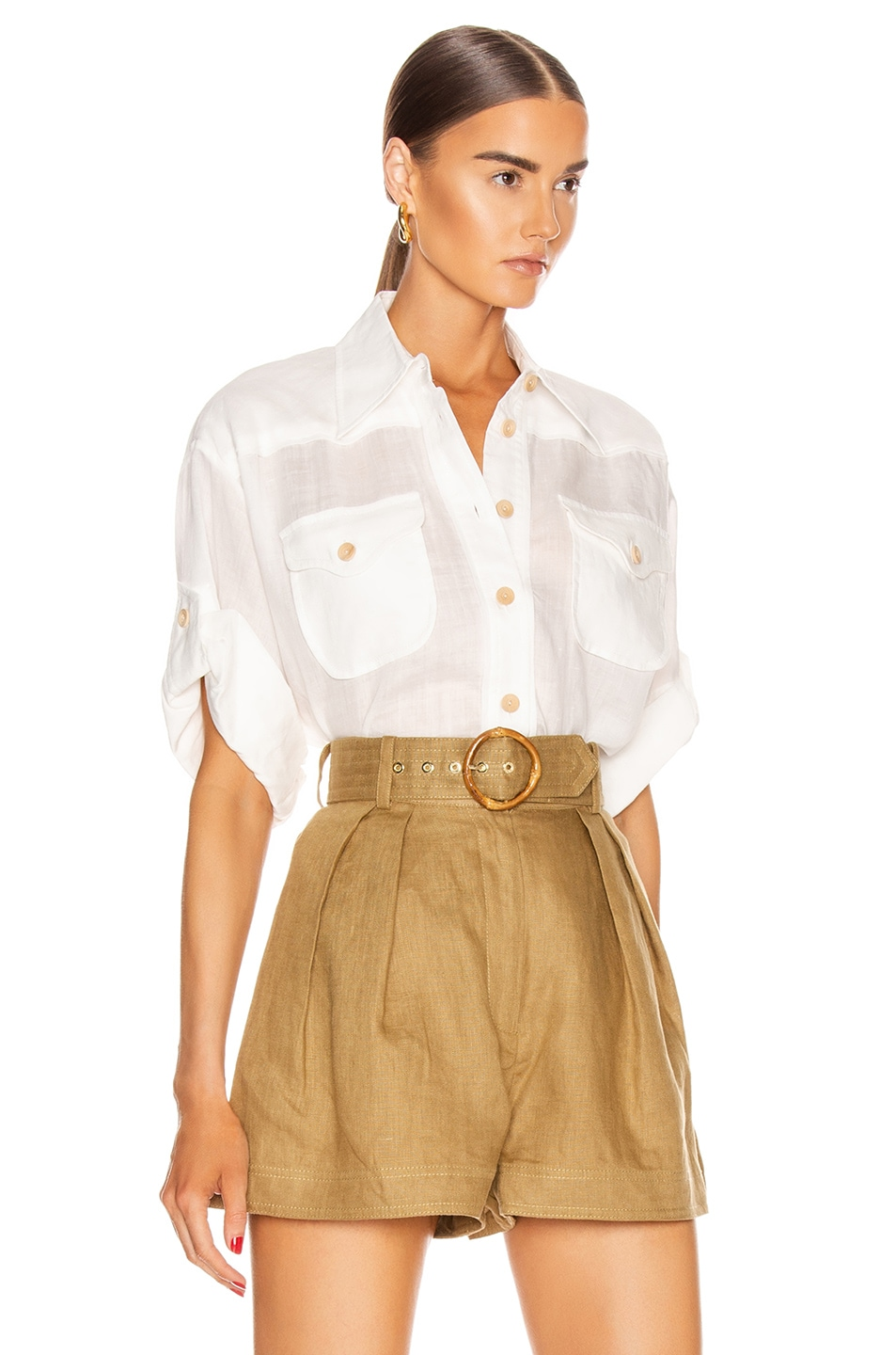 Image 3 of Zimmermann Super Eight Safari Shirt in Ivory