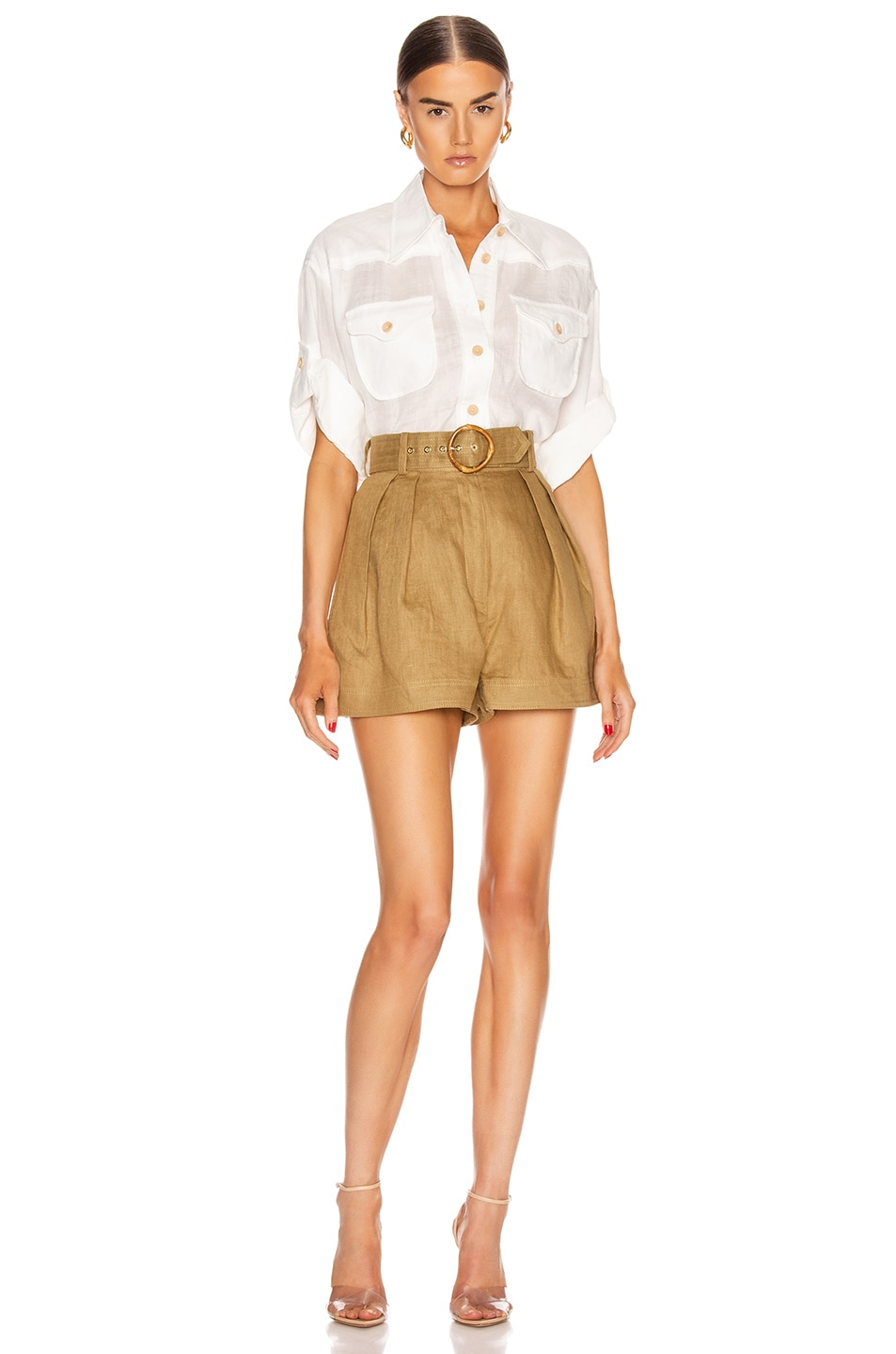 Image 5 of Zimmermann Super Eight Safari Shirt in Ivory