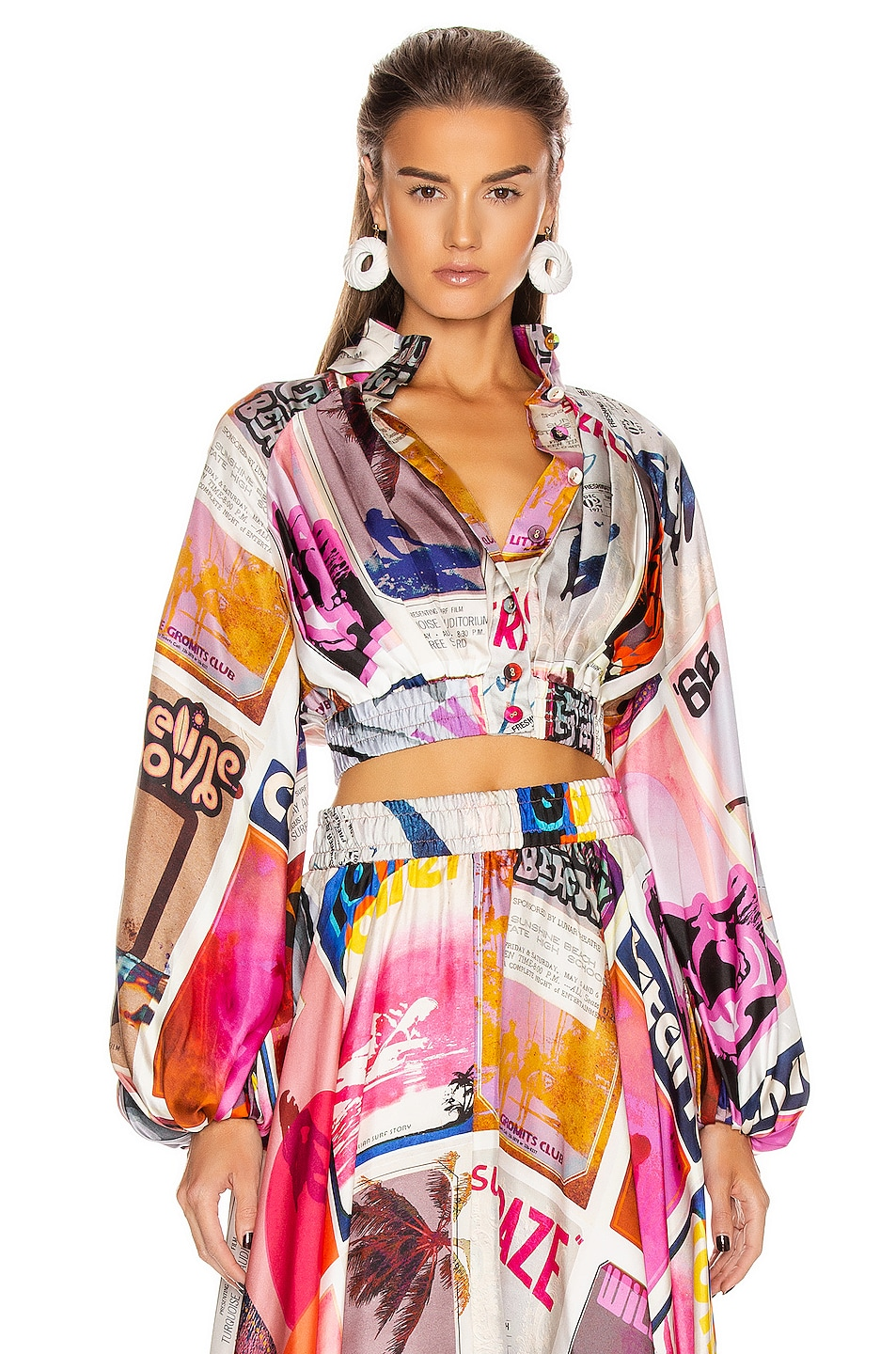 Image 1 of Zimmermann Wavelength High Collar Blouse in Pink Poster Print