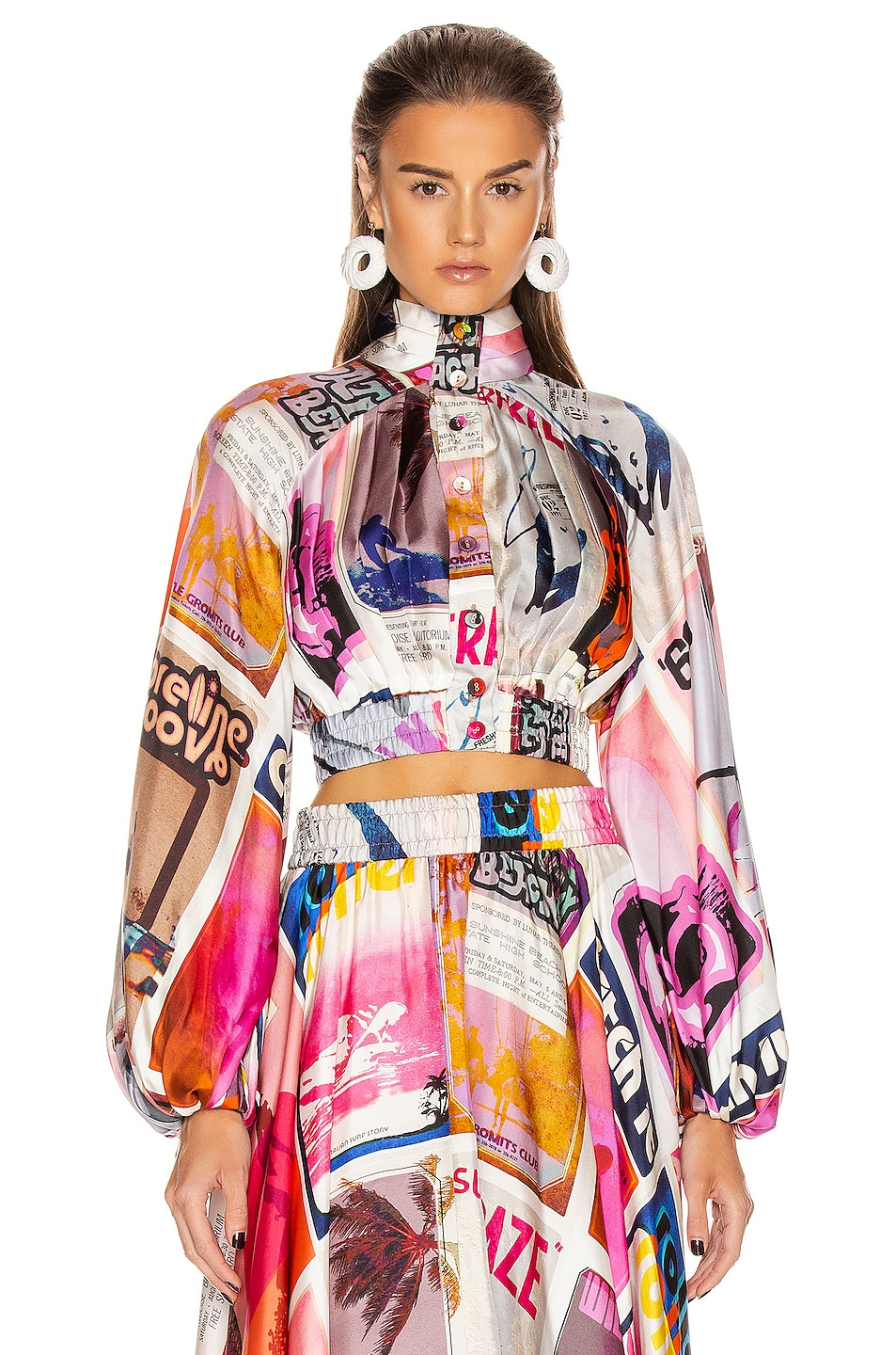 Image 2 of Zimmermann Wavelength High Collar Blouse in Pink Poster Print