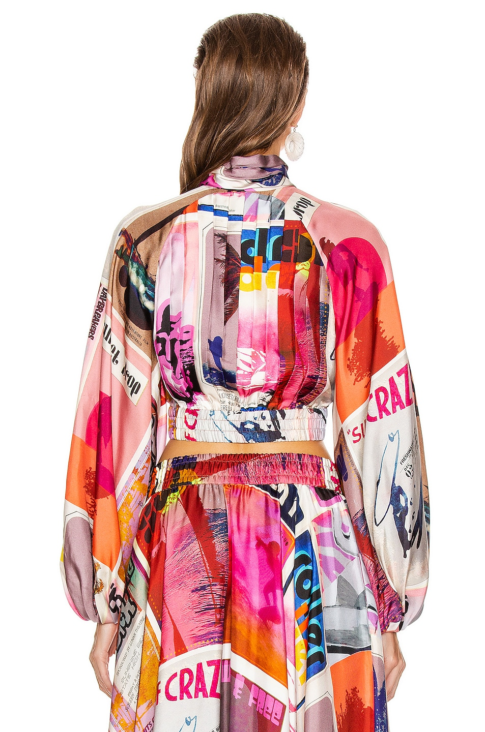 Image 4 of Zimmermann Wavelength High Collar Blouse in Pink Poster Print