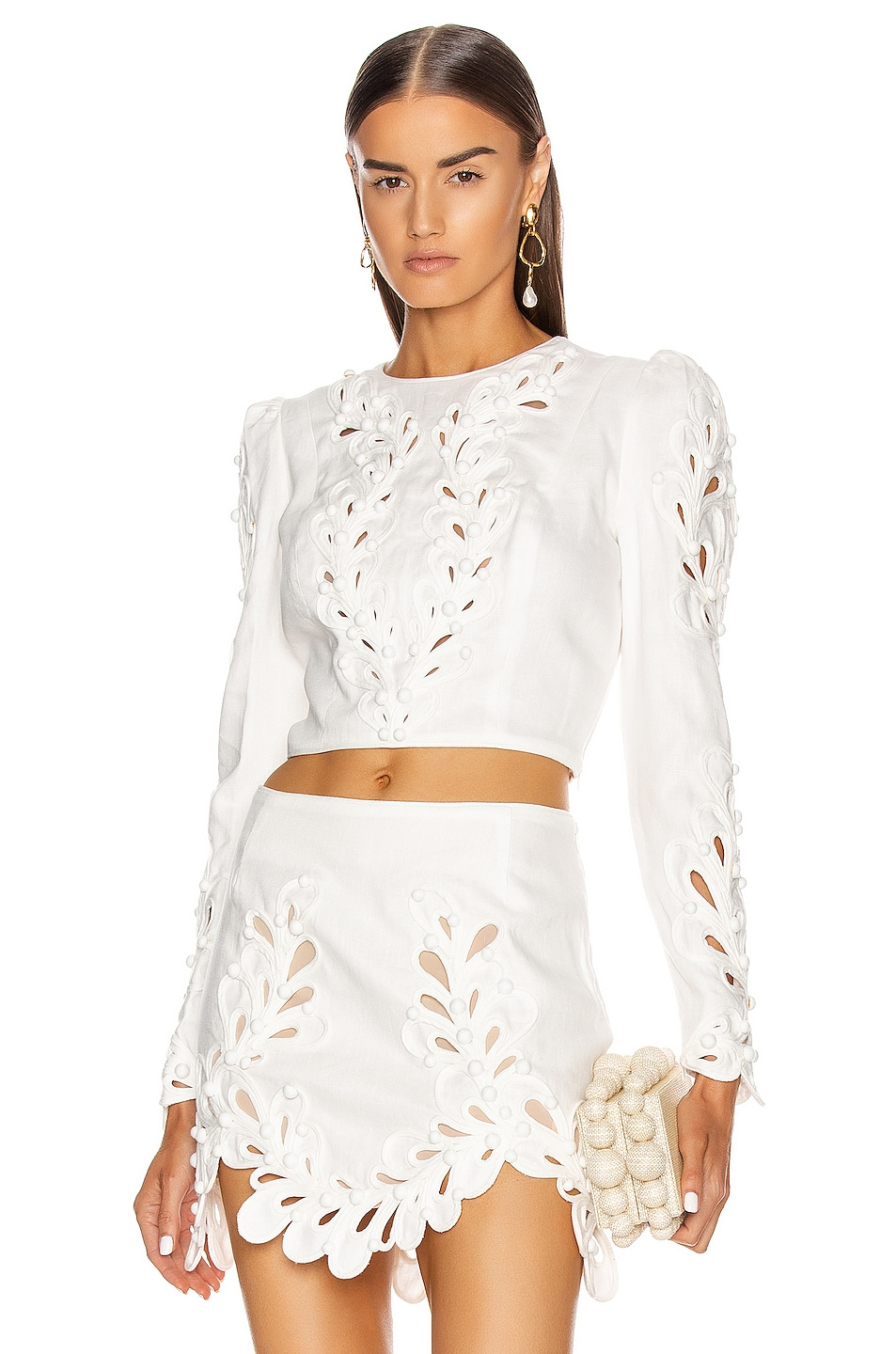 Image 1 of Zimmermann Brightside Rouleaux Bodice in Ivory