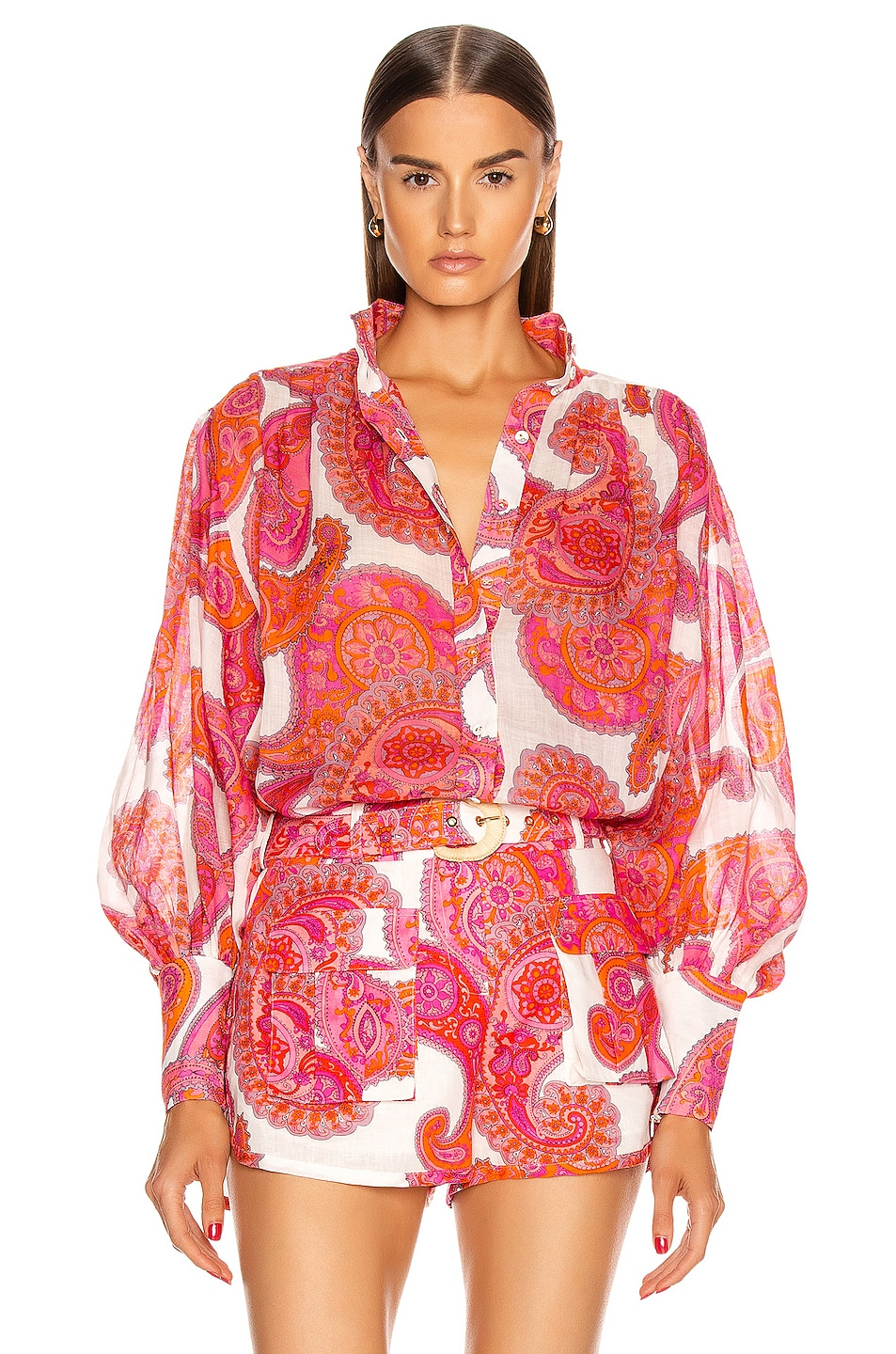 Image 1 of Zimmermann Peggy Billow Blouse in Magenta Ivory Paisley