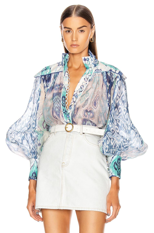 Image 1 of Zimmermann Glassy Long Sleeve Blouse in Spliced Blue Ikat