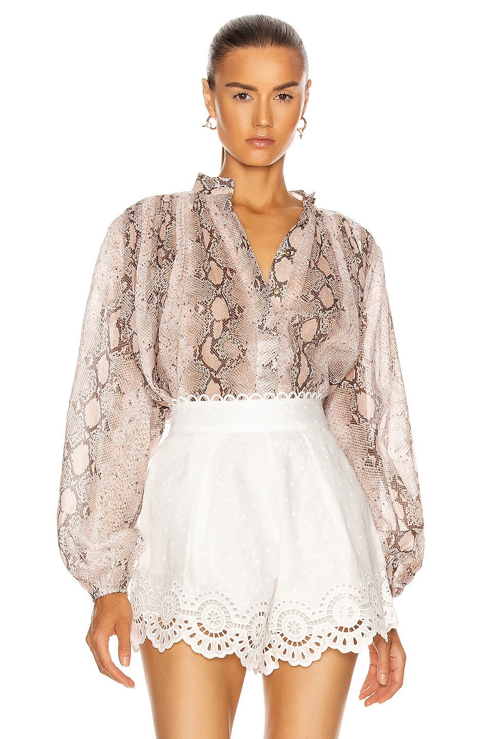 Image 1 of Zimmermann Bellitude Batwing Tie Blouse in Snake