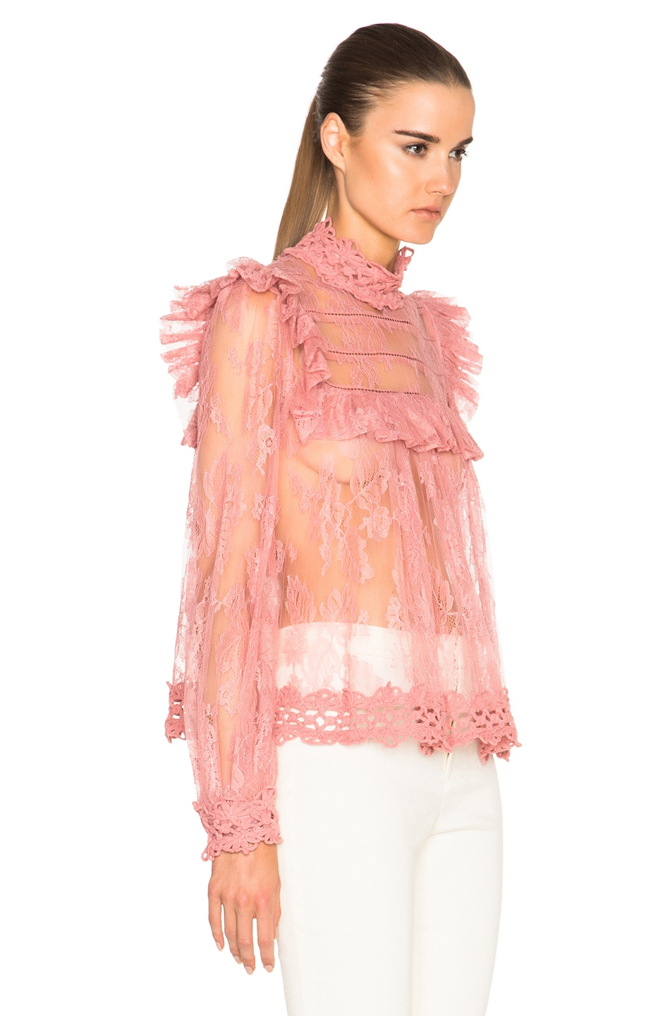 f90559e2d87124 Image 3 of Zimmermann Mischief Lace Top in Peony