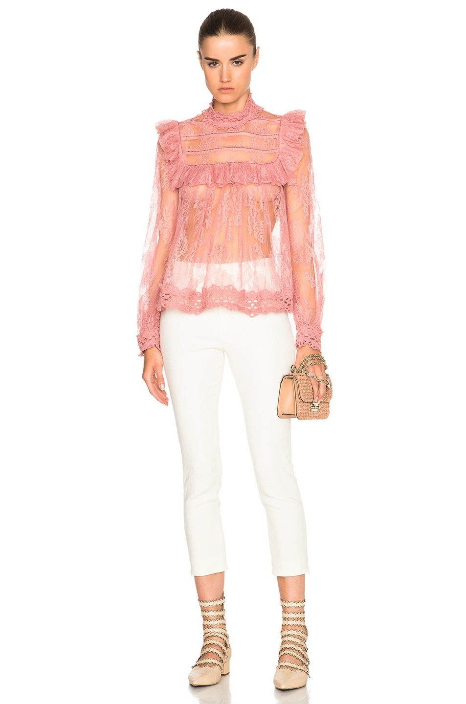 6a6af2ed89fec5 Image 5 of Zimmermann Mischief Lace Top in Peony