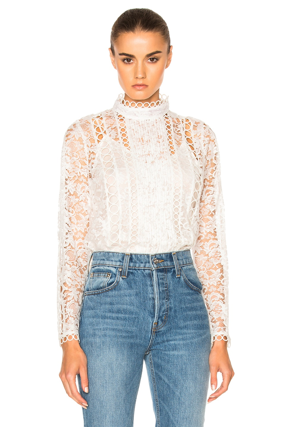 Image 1 of Zimmermann Winsome Breeze Lace Top in Pearl