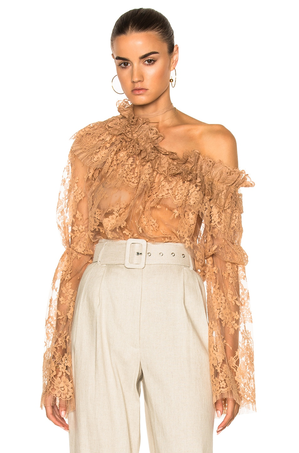 Image 1 of Zimmermann Bowerbird Lace Blouse in Nude
