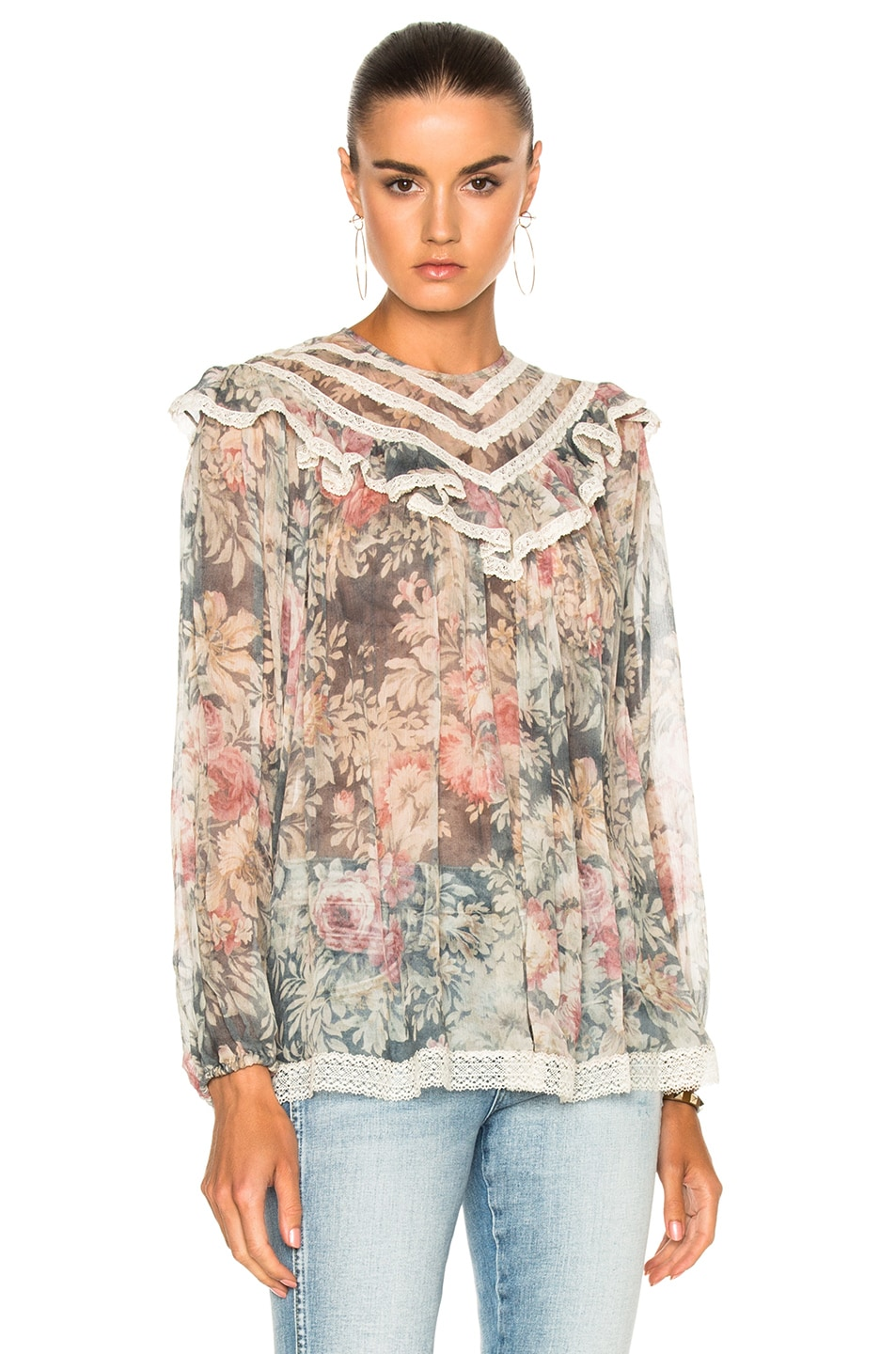 Image 1 of Zimmermann Cavalier Lace Yoke Blouse in Smoke Floral