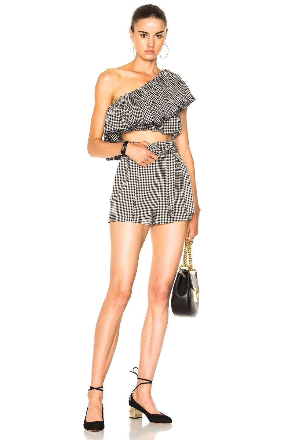 f05e22591e6 Image 4 of Zimmermann Gingham Frill Top in Black Check