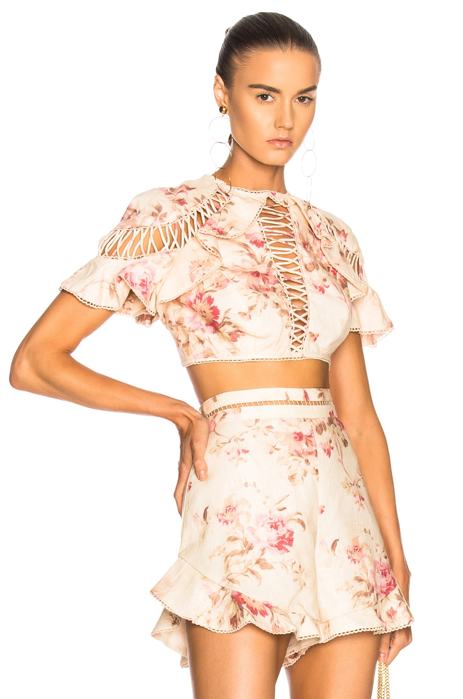 eefce3bd63781 Image 1 of Zimmermann Corsair Flutter Lace Up Top in Cream Floral