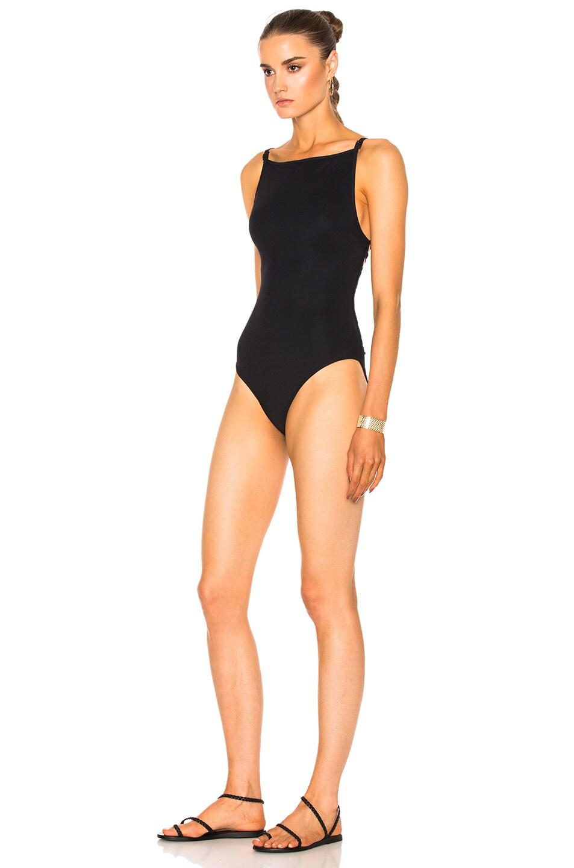 b53b8b2da5e Image 3 of Zimmermann Valour Lattice Back Swimsuit in Noir