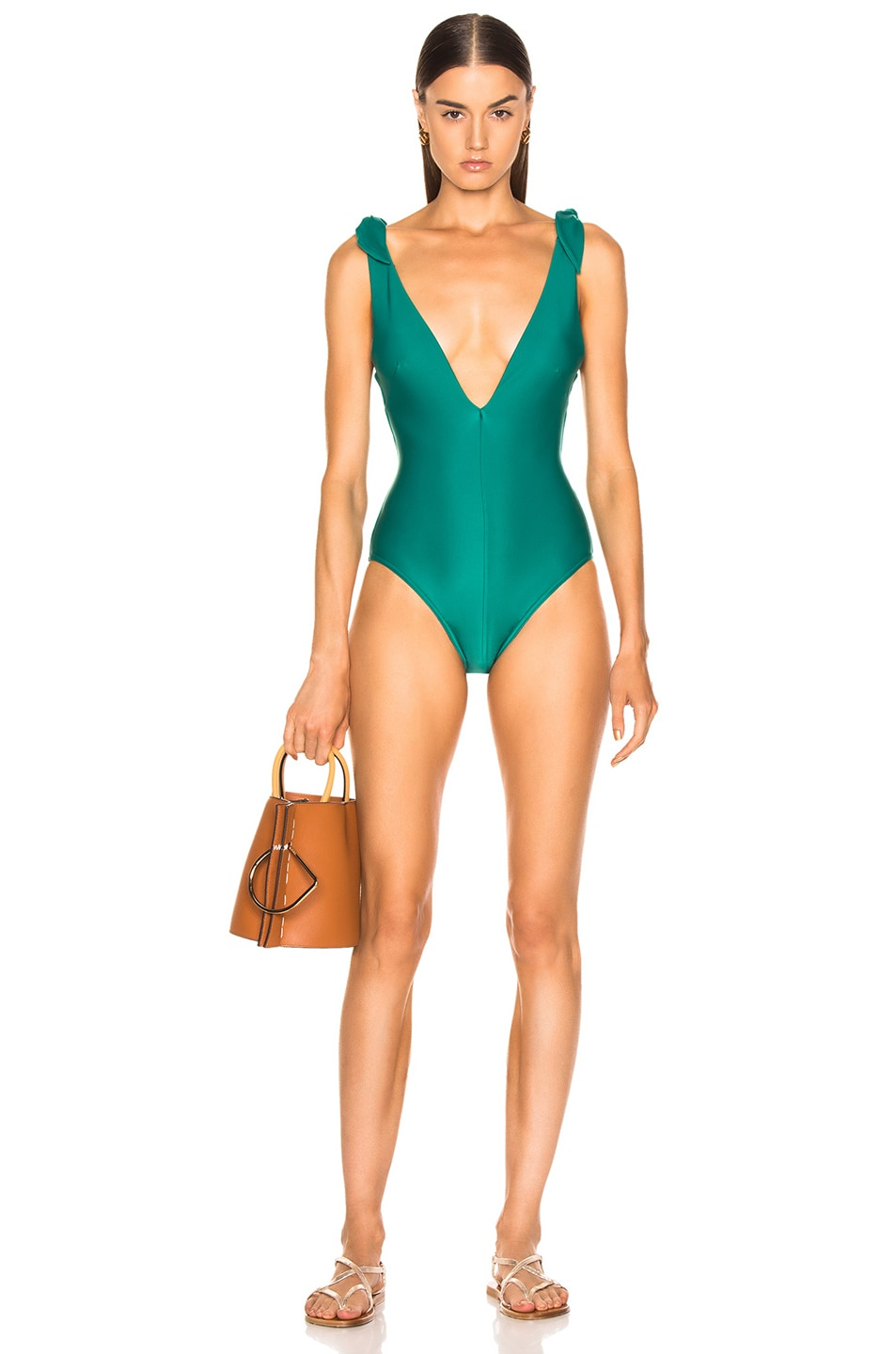 Image 1 of Zimmermann Heathers Tie Swimsuit in Bottle Green