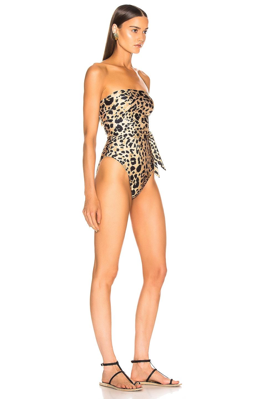 Image 2 of Zimmermann Veneto Scarf Cut Out Swimsuit in Leopard