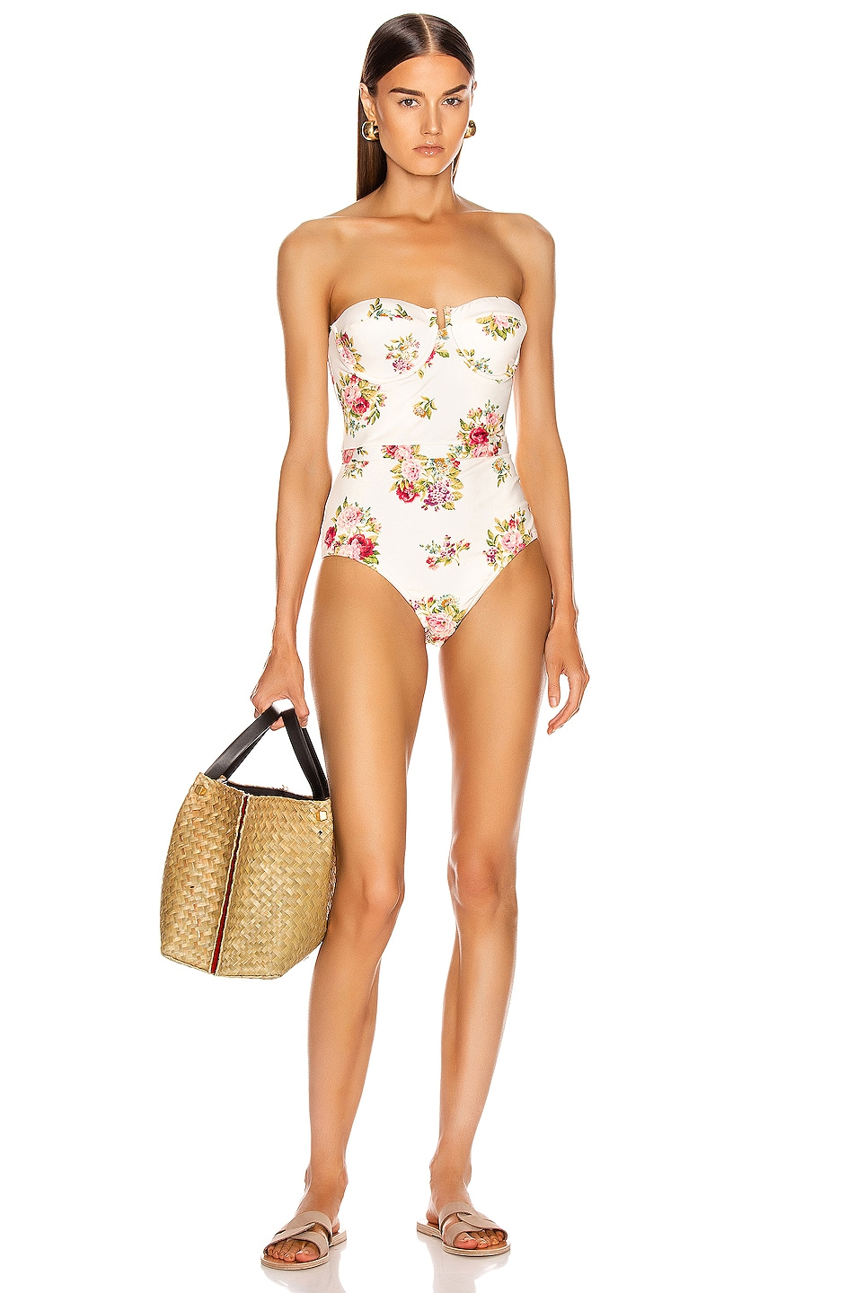 Image 1 of Zimmermann Honour Balconette Swimsuit in Cream Floral