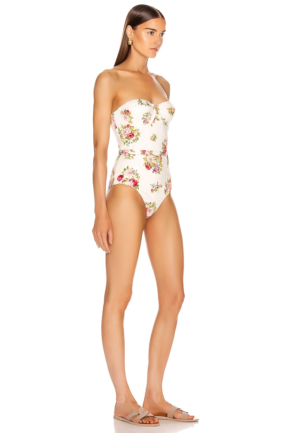 Image 3 of Zimmermann Honour Balconette Swimsuit in Cream Floral