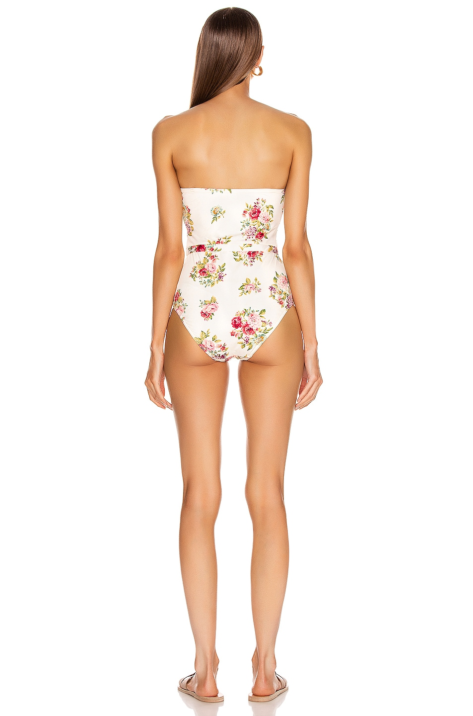 Image 4 of Zimmermann Honour Balconette Swimsuit in Cream Floral