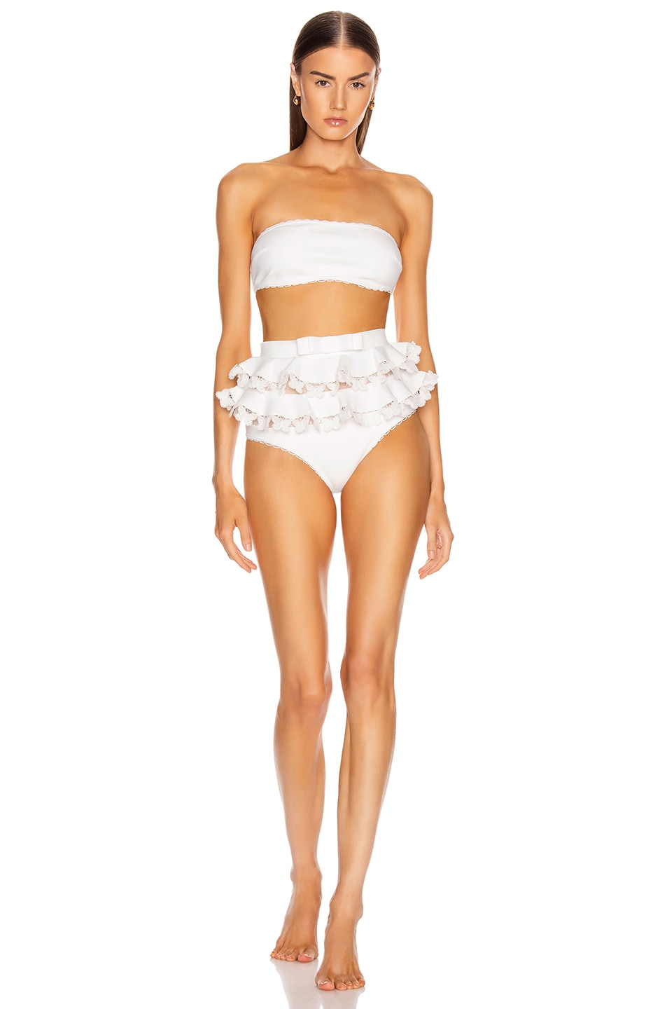 Image 1 of Zimmermann Super Eight Embroidered Bikini Set in Ivory
